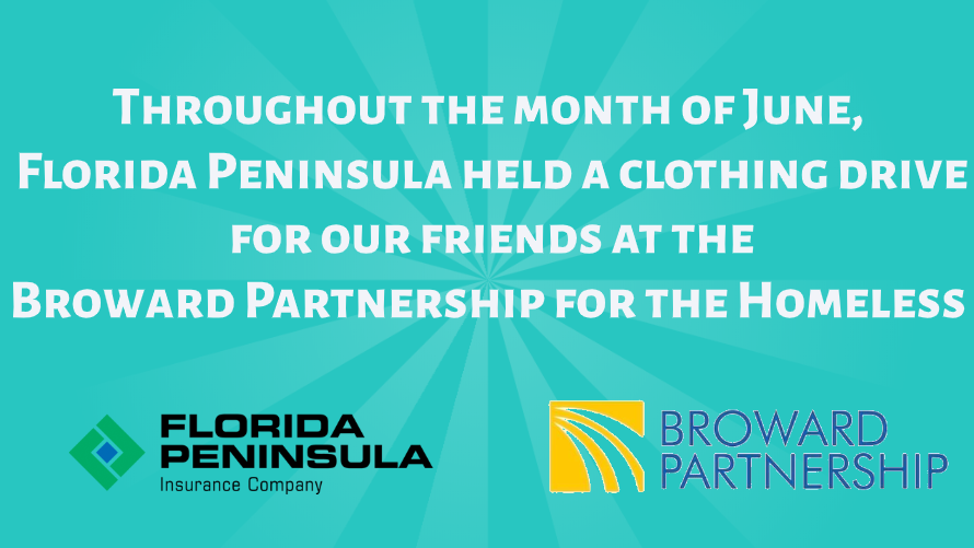 June – The Broward Partnership for the Homeless receives donation
